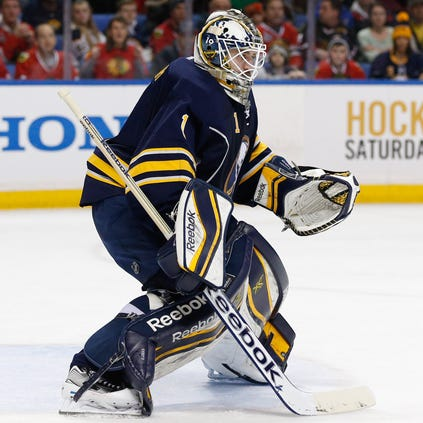 Buffalo Sabres goalie Jhonas Enroth (1) during a game against the Chicago Blackhawks at First Niagara Center.