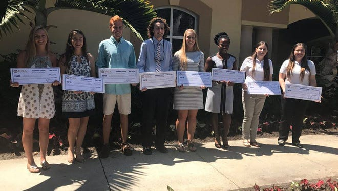 High school student-athletes who were awarded $1,000 scholarships from the Southwest Chapter PGA at its spring meeting at Pelican Sound Golf & River Club on Monday, May 15, 2017. A total of 11 were awarded, but not all were present.