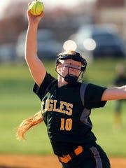 Morris Knolls' Brooke Wiarda prepares to throw a pitch