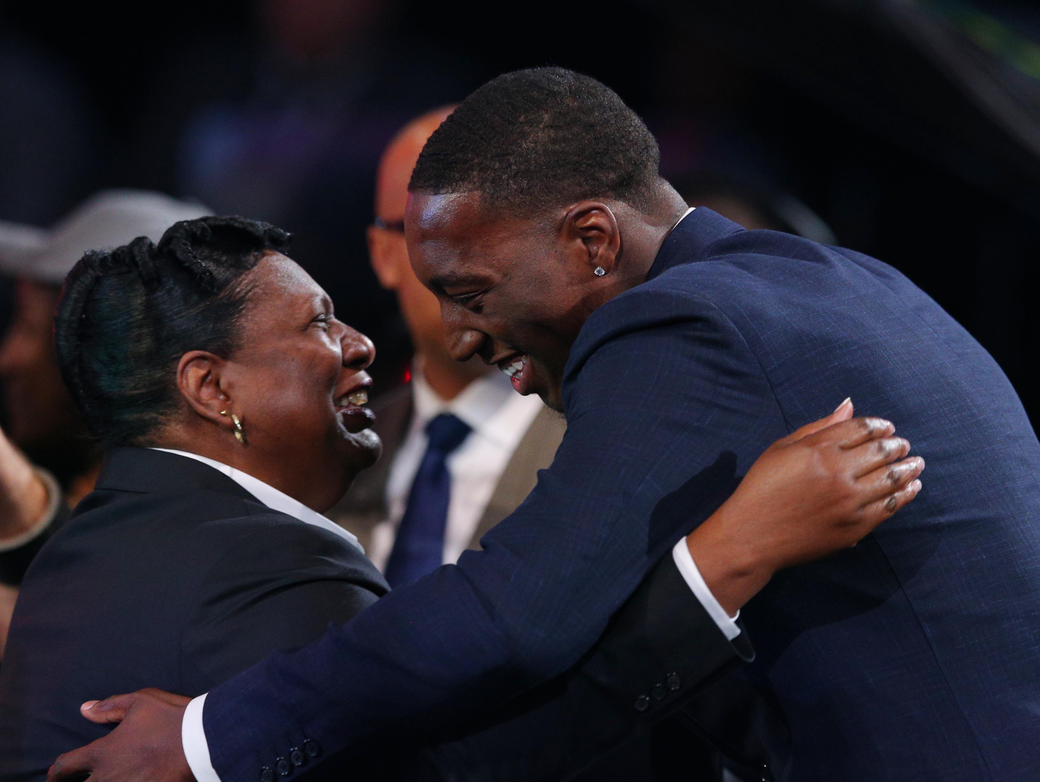 Jun 22, 2017; Brooklyn, NY, USA; Bam Adebayo (Kentucky) reacts as he is introduced as the number fourteen overall pick to the Miami Heat in the first round of the 2017 NBA Draft at Barclays Center.