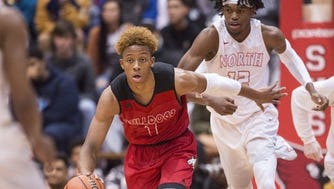 Romeo Langford (left) and Keion Brooks Jr. will face off when the Indiana All-Stars play the Juniors on June 6 at New Albany.