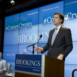 FBI Director James Comey addresses technology and policing last month in Washington.
