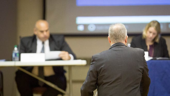 Muncie Superintendent Steven Baule talks to the Indiana State Distressed Unit Appeals Board on May 1 about the state takeover of Muncie Community Schools.