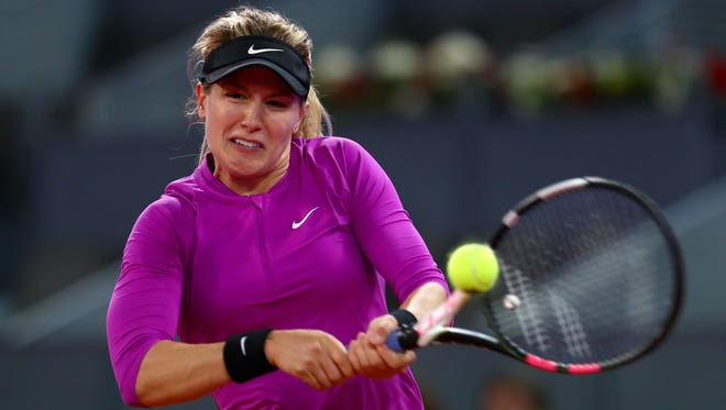 Eugenie Bouchard of Canada in action against Svetlana Kuznetsova of Russia on day six of the Mutua Madrid Open tennis at La Caja Magica.