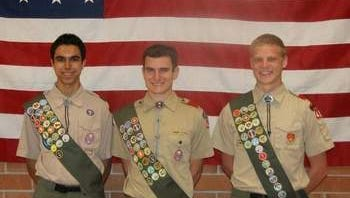Hillsborough Troop 489 is hosting an Eagle Scout Court of Honor for Vinay Ravinder, Justin Mahalsky and Wesley Anderson (left to right) who, as Eagle Scouts, have attained the highest rank in scouting.