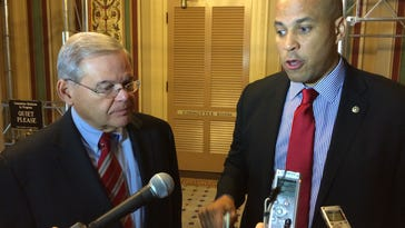 Senators Robert Menendez and Cory Booker, both D-N.J., discuss their meeting with Federal Emergency Management Agency Director Craig Fugate.