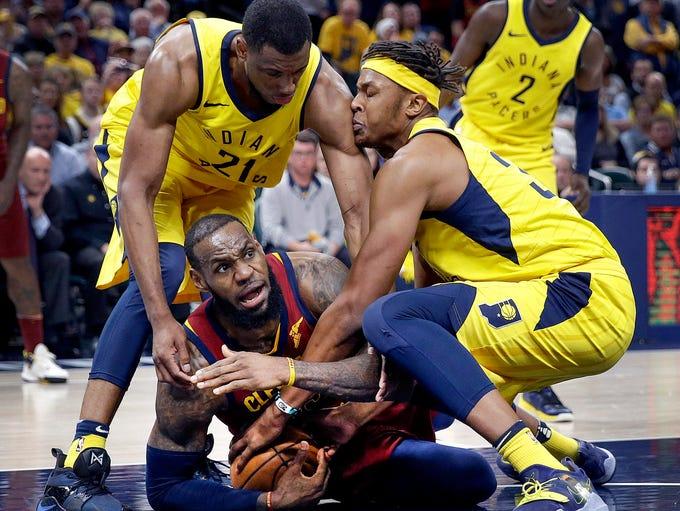 Cleveland Cavaliers forward LeBron James (23) calls