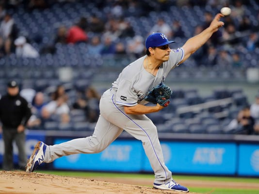 Kansas City Royals' Jason Vargas delivers a pitch during the first inning of a baseball game against the New York Yankees, Monday, May 22, 2017, in New York. (AP Photo/Frank Franklin II)