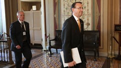 Deputy Attorney General Rod Rosenstein leaves the U.S.