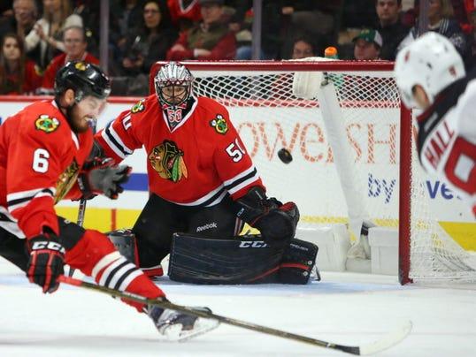 USP NHL: NEW JERSEY DEVILS AT CHICAGO BLACKHAWKS S HKN USA IL