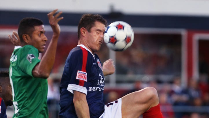 The Indy Eleven Captain Greg Janicki (right), 30, is an eight-year veteran defender and native of Rochester, Mich., is shown in action in the Indy Eleven's 2015 NASL home opener against the New York Cosmos at IUPUI's Carroll Stadium in Indianapolis on Saturday, April 11, 2015, which ended in a 1-1 tie. The last three seasons, Janicki was a member of the San Antonio Scorpions, where he won the Soccer Bowl last year. He began his professional career with the Pittsburgh Riverhounds in 2008 and later played with D.C. United and the Vancouver Whitecaps.