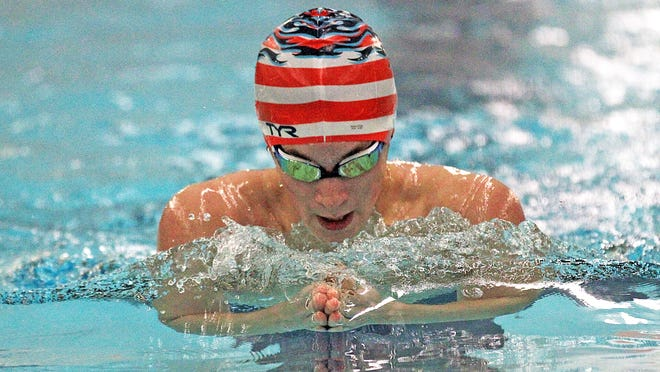 Coldwater's Lucas Wischmeyer competes in the 200 Individual Medley Thursday at Sturgis. Wischmeyer took an individual win in the 100 Butterfly on the night.