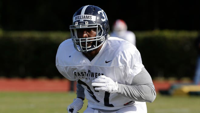 East linebacker Antwione Williams, of Georgia Southern, during practice for the East West Shrine college football game Wednesday, Jan. 20, 2016, in St. Petersburg, Fla.