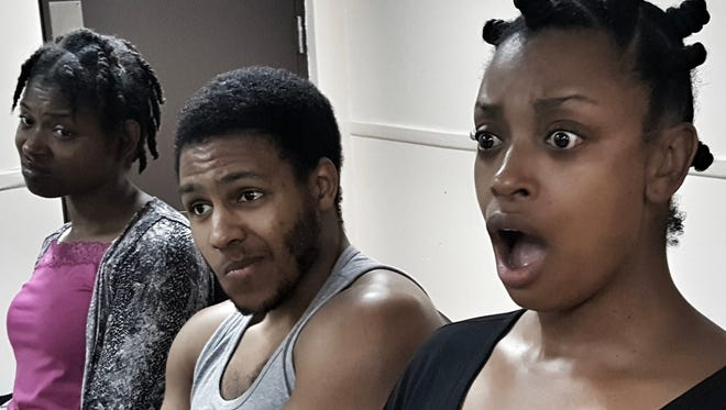 """Delane Bracken, William Yore, Angela Williams  in rehearsal for Smoked Apple Theater Group's production of Kenneth """"Nipsey Green"""" Coleman's new play """"Oh Lord! Mama Done Burn the Biscuits."""""""