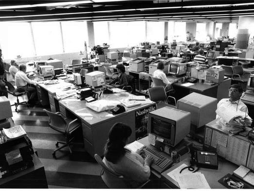 Inside the Register newsroom, date unknown.