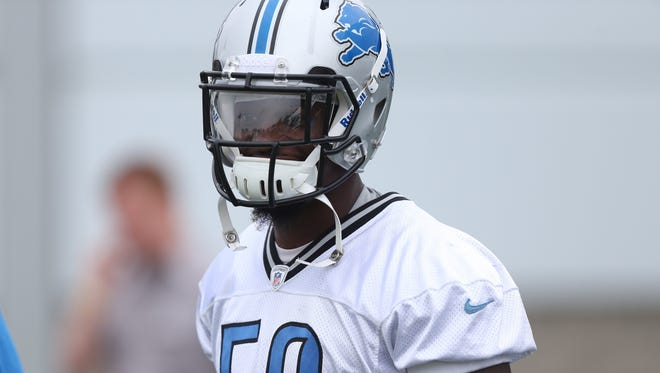 Detroit Lions linebacker Tahir Whitehead practices July 27, 2013, in Allen Park.