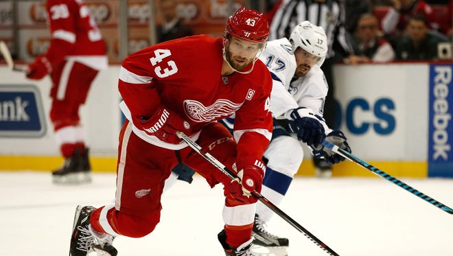 Darren Helm of the Detroit Red Wings plays against the Tampa Bay Lightning on Nov. 15, 2016, in Detroit.