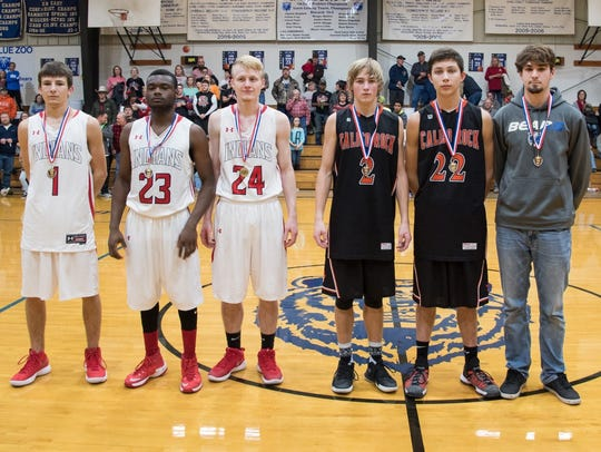 The all-tournament boys' team for the Battle of the