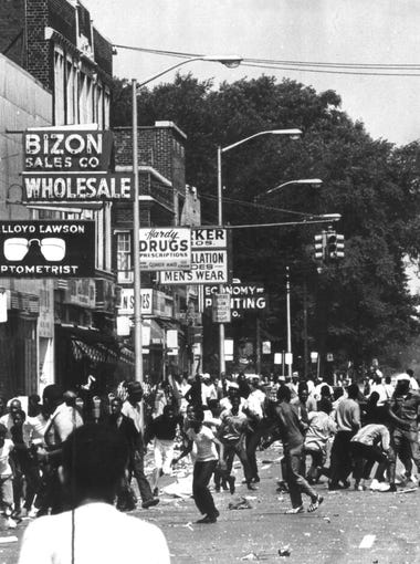 The intersection of 12th and Clairmount in Detroit was the epicenter of the 1967 civil disturbance. In the early hours of July 23,  after police detain 85 partygoers at a blind pig, an outraged crowd gathers and soon a bottle is thrown at a police cruiser.