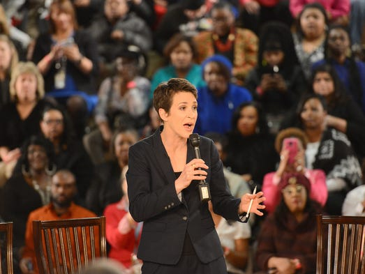 MSNBC's Rachel Maddow talks to the crowd during filming