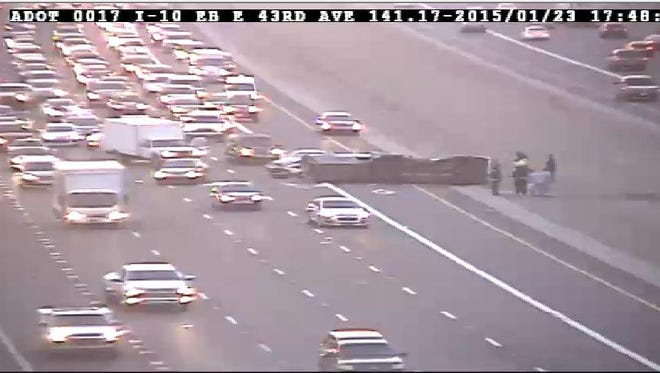 ADOT footage of accident on the eastbound I-10