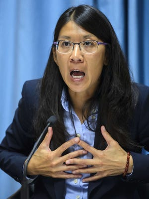 Joanne Liu , international president of Doctors Without Borders, gestures as she speaks during a press conference in Geneva on Oct. 7, 2015, on the bombing by U.S. forces of a hospital of the medical charity in Kunduz, Afghanistan, which killed 22 people.