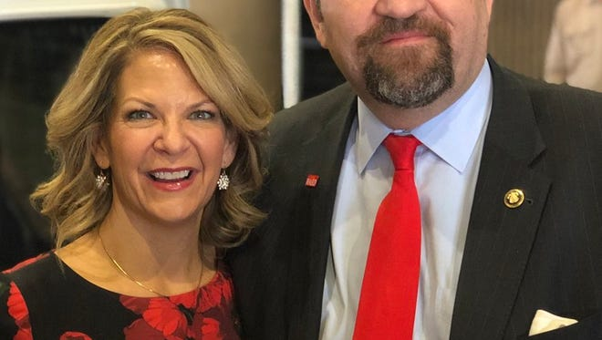 Kelli Ward and Sebastian Gorka, at a March 29 campaign rally at which he endorsed her campaign for the U.S. Senate.