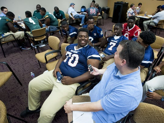 Park Crossing's Tank Jenkins is interviewed during the Montgomery Advertiser High School Football Media Day at the Advertiser offices in Montgomery, Ala., on Thursday July 28, 2016.