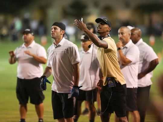 The Xavier Prep coaching staff working against Twentynine Palms, September 8, 2017.