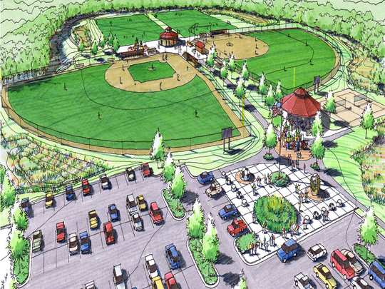 Soccer and lacrosse fields, ball diamonds, trails, a pavilion and restrooms are planned for the 23-acre Towner Road park, formerly the Applegate Driving Range. The project will cost about $1.8 million.