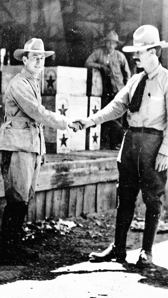 Revolutionary leader Francisco I. Madero, left, and Orozco, his general, behind the customs house in Juárez shortly after their capture of the city.
