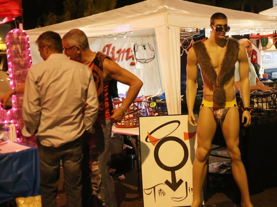 A mannequin is set up outside a clothing booth during the Pride Fest celebration in downtown Palm Springs, Saturday, November 8, 2014. This year's Pride Festival will again be in downtown Palm Springs.