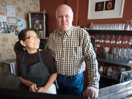 Jai Delp, left, and Sam Delp, the owners of Esaan Thai Restaurant, have been married for 46 years.