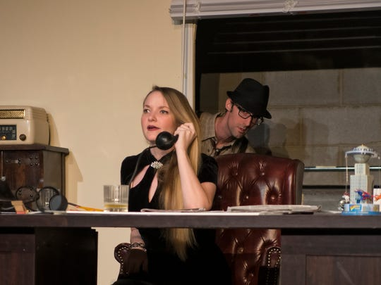 "Carrie Kimbrell Kimzey and Paul Matthew Gallaher in The Magnetic Theatre's ""Capital Liar."""