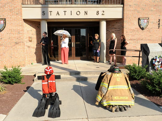 Firefighter Tim McClanahan was laid to rest on Sunday, July 17 with a full firefighter's funeral in Lewes as hundreds of firefighters from Delaware, Maryland and Pennsylvania paid their respects at services held at the Cape Henlopen High School.