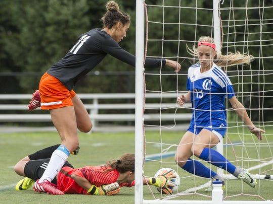 Cedar Crest's goalkeeper Courtney Wysokowski and Bridgett