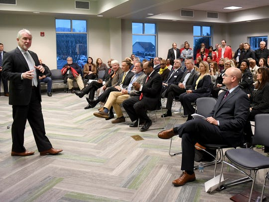 Jackson Chamber President and CEO Kyle Spurgeon welcomes members of the public to the Southwest Tennessee Reconnect Community Launch Event, Thursday, Feb. 1.