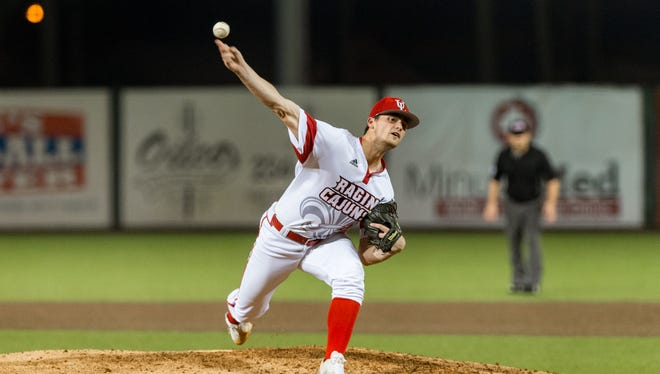 "Starting pitcher Jack Burk on the mound as the Louisiana Ragin Cajuns take on Wright State at M.L. ""Tigue"" Moore Field at Russo Park. Friday, Feb. 23, 2018."