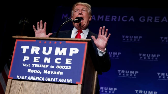 GOP presidential nominee Donald Trump speaks Nov. 5, 2016, during a campaign rally in Reno, Nev.