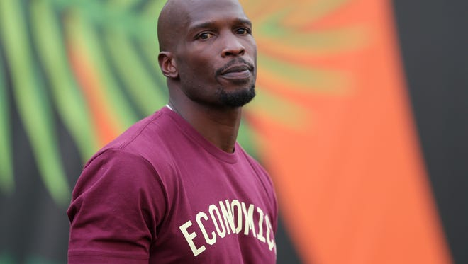 Former Cincinnati Bengals wide receiver Chad Johnson on the sidelines before the Week 2 NFL football game between the Houston Texans and the Cincinnati Bengals, Thursday, Sept. 14, 2017, at Paul Brown Stadium in Cincinnati.
