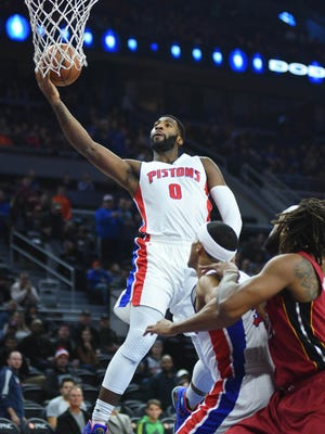 Pistons center Andre Drummond (0) shoots the ball during the first quarter Wednesday at the Palace.