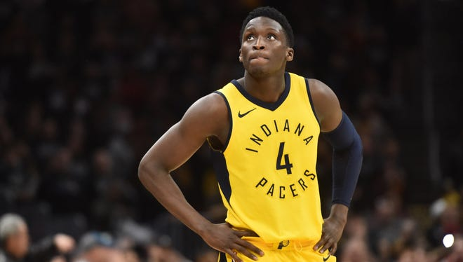 Indiana Pacers guard Victor Oladipo (4) looks at the scoreboard late in the fourth quarter in game seven of the first round of the 2018 NBA Playoffs at Quicken Loans Arena.