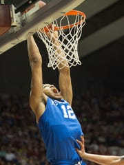 Karl-Anthony Towns of Kentucky dunks the ball during a game against Alabama at Coleman Coliseum on Jan. 17, 2015, in Tuscaloosa, Ala.