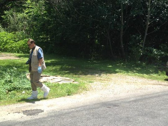 A TBI agent looks for evidence along Betty Manley Road on Thursday afternoon. The Madison County Sheriff's Office worked with TBI to investigate after a body was found in the area.