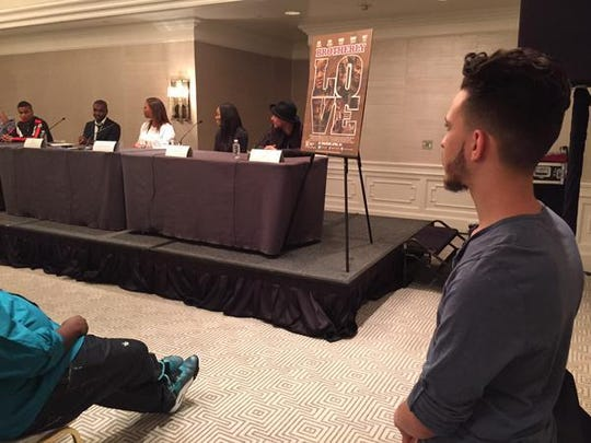 """Jeff Lopez (far right) and his team host L.A. presser for """"Brotherly Love"""""""