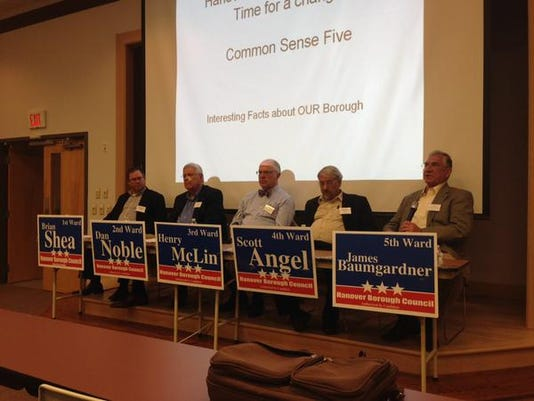 """The self-proclaimed """"Common Sense Five"""" running for Hanover borough council introduce themselves during a discussion. From left are Brian Shea, Dan Noble, Henry McLin, Scott Angel and James Baumgardner."""