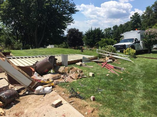 Damage to a home in Springettsbury Township after a service truck crashed into the home.