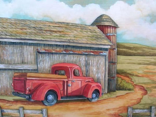 """""""Red Truck and Barn"""" by John Engler"""