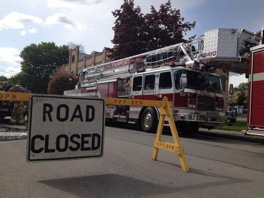 The Fairport Fire Department is pumping water out of businesses on Liftbridge Lane after flooding that happened Friday night.