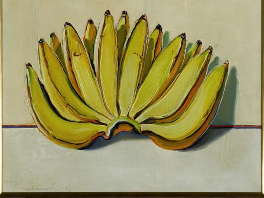"Wayne Thiebaud's 14 x 18-inch painting ""Bananas"" (1963),"